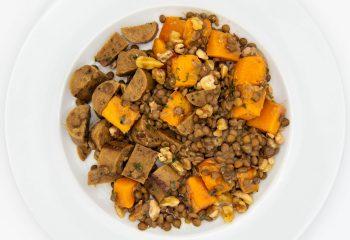 Vegan Sausage + Roasted Squash + Lentils