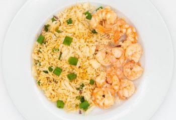 Ginger Peanut Shrimp + Rice